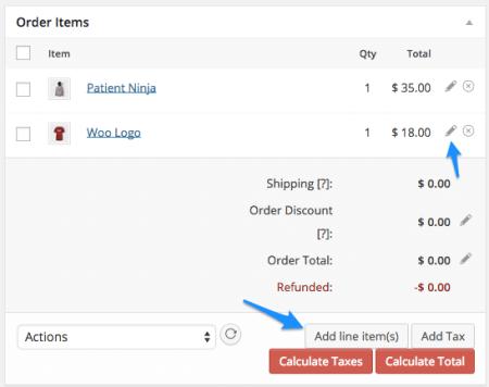WooCommerce Add Line Items