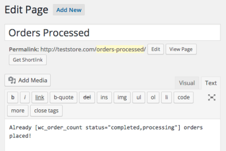 WooCommerce order count: completed + Processing