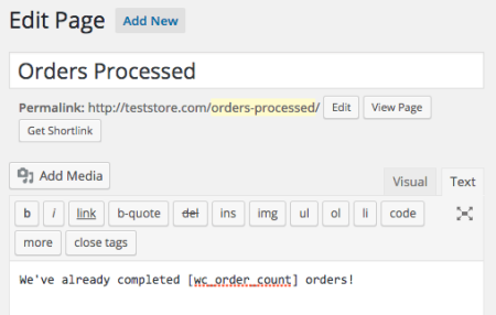 Using the Shortcode: woocommerce order count