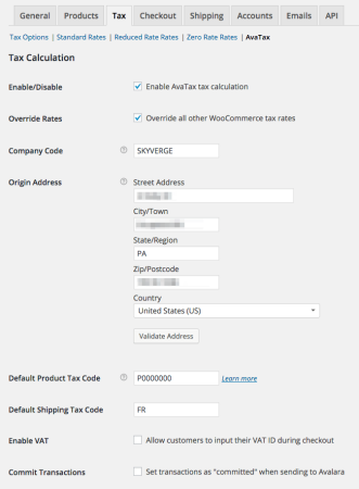 WooCommerce AvaTax settings 1
