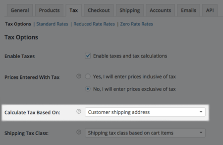 WooCommerce Sales Tax Options