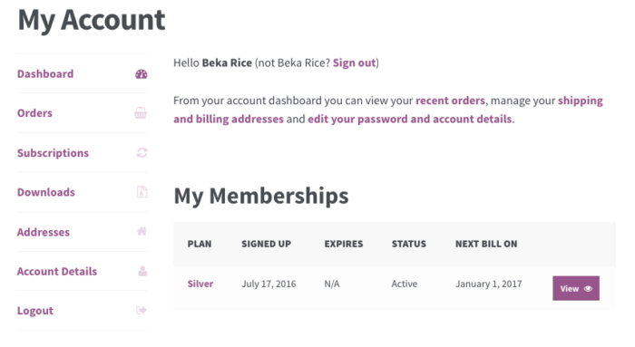 WooCommerce Memberships: my memberships table