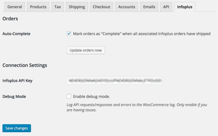 WooCommerce Infoplus Settings