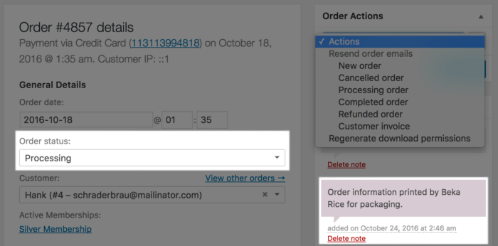 WooCommerce Custom Order Actions Run