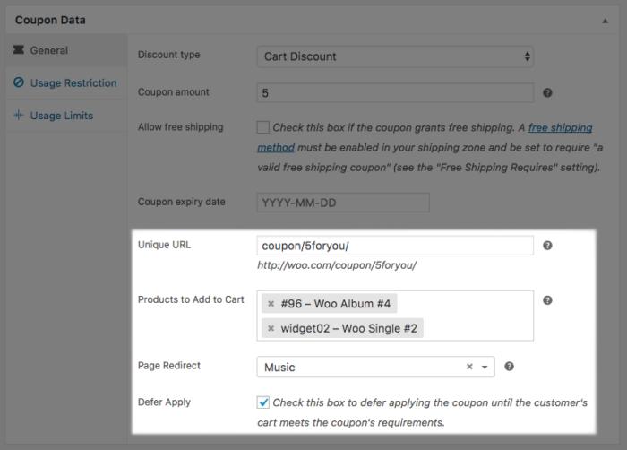 WooCommerce URL Coupons data imported