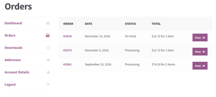 WooCommerce: Previous Orders Linked