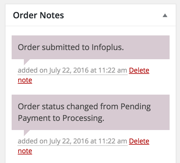 Infoplus Connect for WooCommerce: order synced