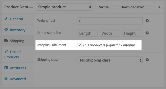 Infoplus Connect for WooCommerce: Product settings