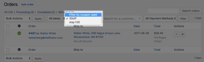 WooCommerce Filter Orders by Coupons used