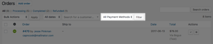 WooCommerce Order Filter by Payment method