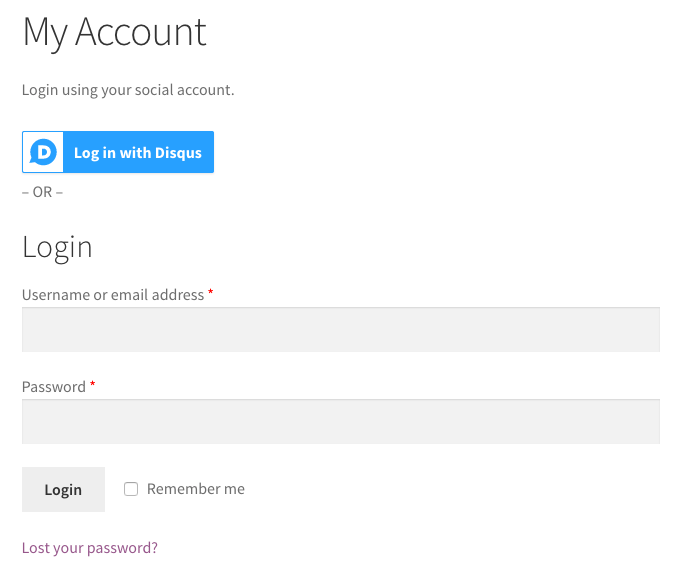 WooCommerce Social Login Account page