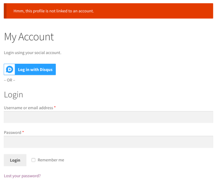 WooCommerce Social Login: User Registration blocked 1