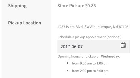 WooCommerce Local Pickup Plus choose location date