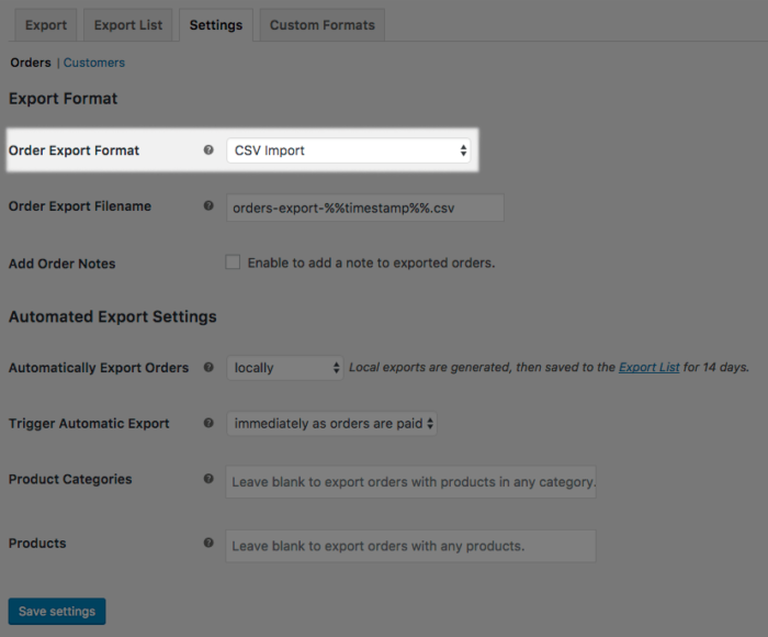 WooCommerce CSV Export settings